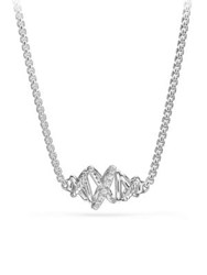 David Yurman Crossover Single Station Necklace With Diamonds Silver