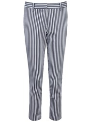 Pure Collection Double Stripe Kira Capri Trousers Navy Double Stripe