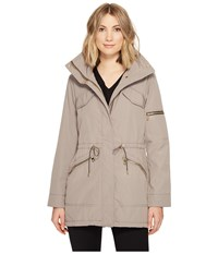 Vince Camuto Lightweight Parka With Drawstring Waist And Hem Clay Women's Coat Tan