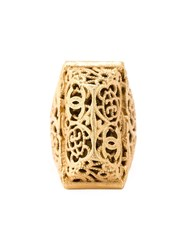 Chanel Vintage 'Bombay' Engraved Ring Metallic