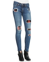 Rag And Bone Rag And Bone Jean The Skinny Sloane Plaid Repair Patch Jeans Women's