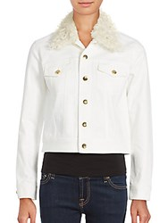 Derek Lam Solid Fur Trimmed Cropped Jacket White