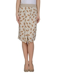 Momoni Momoni Knee Length Skirts Beige