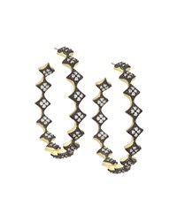 Freida Rothman Diamond Shaped Crystal Hoop Earrings Women's