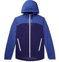 J.Crew Colour Block Cotton And Nylon Blend Hooded Jacket Blue