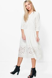 Boohoo White Lace Button Up Smock Dress Beige