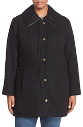 Plus Size Women's Jessica Simpson Basket Weave Fit And Flare Coat Black