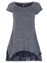 Izabel London Knit Tunic Top With Frill Hemline Blue