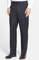 Men's Big And Tall Berle Self Sizer Waist Flat Front Wool Gabardine Trousers Black