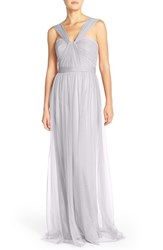 Women's Nouvelle Amsale 'Aisha' Tulle Twisted V Neck Gown Dove