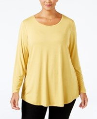 Jm Collection Plus Size Scoop Neck Swing Top Only At Macy's Roman Gold