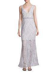 Nicholas French Lace Deep V Gown White