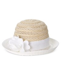 Nine West Packable Floral Cloche Hat Natural White