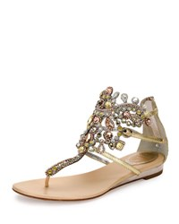 Rene Caovilla Jewel Embellished Flat Thong Sandal Platinum Rose Gold