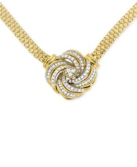 Macy's Diamond Love Knot Pendant Necklace 1 2 Ct. T.W. In 14K Gold Plated Sterling Silver Yellow Gold Over Silver
