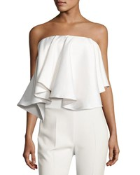 Solace London Laurel Strapless Satin Twill Top White