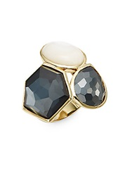 Ippolita Rock Candy Mother Of Pearl Hematite Clear Quartz And 18K Yellow Gold Three Stone Doublet Ring