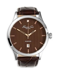 Kenneth Cole Diamond Collection Embossed Leather Strap Watch Brown