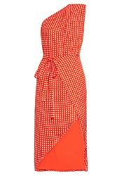 Preen Klauber Gingham Dress Red Print