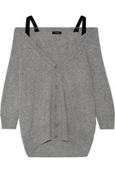 Theory Saline B Off The Shoulder Cashmere Cardigan Gray