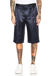 Alexander Mcqueen Satin Shorts In Blue