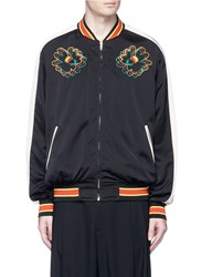 Stella Mccartney Floral Embroidered Sateen Souvenir Jacket Black