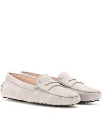Tod's Gommini Suede Loafers Grey