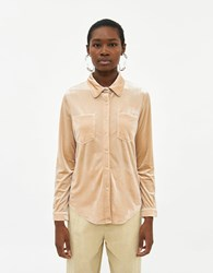 Farrow Odelle Button Down Top In Shimmer Cream Size Small Spandex