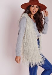 Missguided Fine Hair Shaggy Gilet Cream White