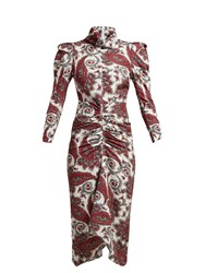 Isabel Marant Tizy Paisley Print Silk High Neck Dress Red Multi