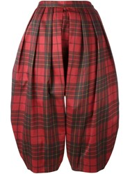 Comme Des Garcons Drop Crotch Cropped Trousers Red