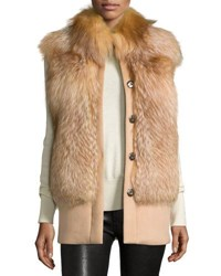 Belle Fare Wool Fur Trim Vest Gold Camel Gold Camel