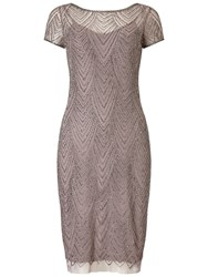 Adrianna Papell Short Beaded Cocktail Dress Stone