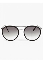 Cutler And Gross Black Leather 1085' Round Aviator Sunglasses