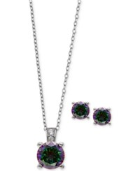 Giani Bernini Mystic Cubic Zirconia Pendant Necklace And Matching Stud Earrings Set In Sterling Silver Only At Macy's