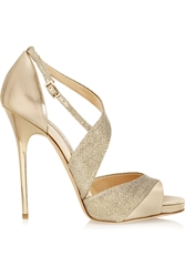 Jimmy Choo Tyne Metallic Leather And Textured Lame Sandals