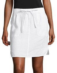 Lord And Taylor Petite Solid Linen Skirt White