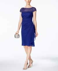 Msk Beaded Ruched Sheath Dress Moroccan Blue