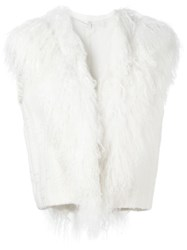 Helmut Lang Shearling Collar Gilet Nude And Neutrals