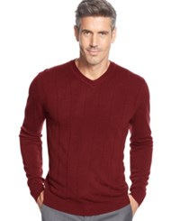 John Ashford Big And Tall Solid Long Sleeve V Neck Sweater Deep Ruby