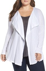 Three Dots Plus Size Women's Luz Drape Front Cardigan White