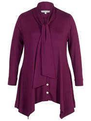 Chesca Pussy Bow Button Through Tunic Plum