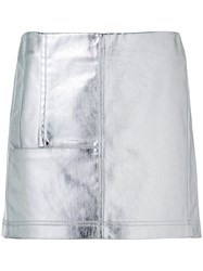 Paco Rabanne Short Metallic Grey Skirt Women Cotton 36