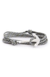 Miansai Men's Silver Anchor Rope Wrap Bracelet Gray Blue