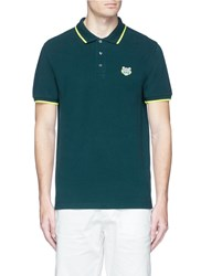 Kenzo Tiger Head Patch Polo Shirt Green