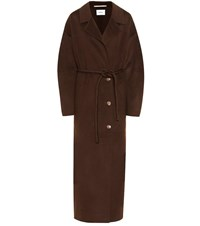 Nanushka Loane Wool And Silk Coat Brown