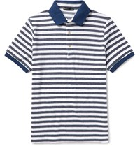 Etro Slim Fit Striped Cotton Blend Terry Polo Shirt Navy
