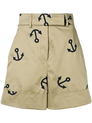 Thom Browne Anchor Embroidery Short Neutrals