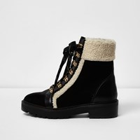 River Island Womens Black Fleece Trim Ankle Boots