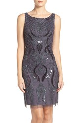 Adrianna Papell Women's Embellished Mesh Sheath Dress